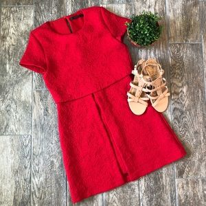 Zara Red Embroidered Floral Dress